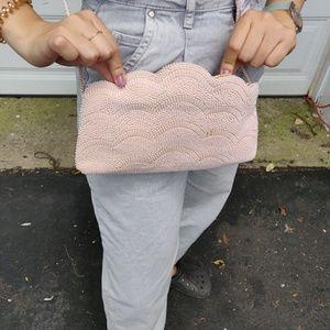 Vintage Mini Shell Embroidered Crossbody Pink Bag
